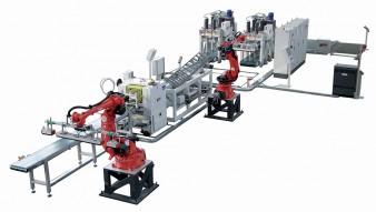 Linea automatica con robot per la produzione di parquet a 2 e 3 strati